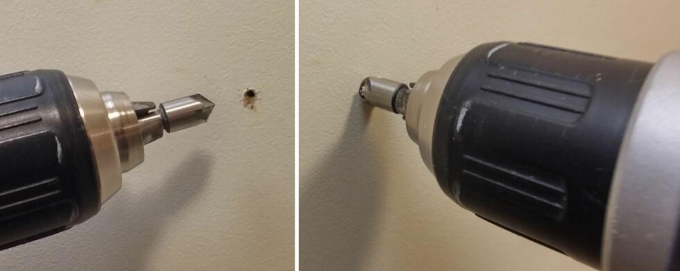 ENKELT: Med en passende  forsenker i drillen lager du et velformet hull som kan sparkles. Foto: BRYNJULF BLIX