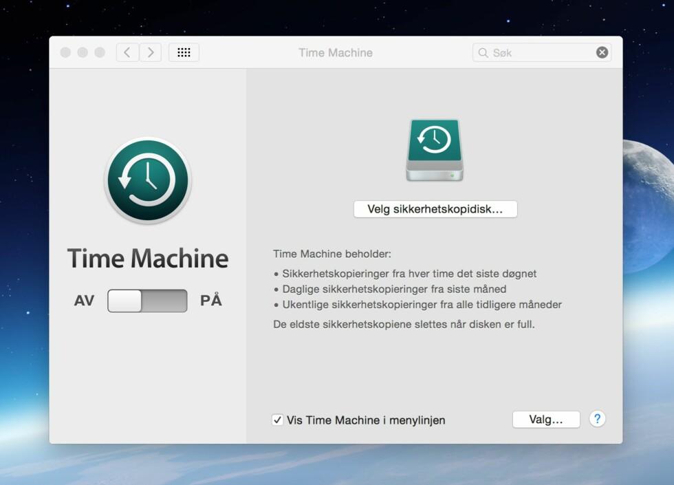 TIDSMASKIN: Time Machine er et ypperlig verktøy å bruke før du selger datamaskinen. Det ligger allerede installert på Mac-en din.