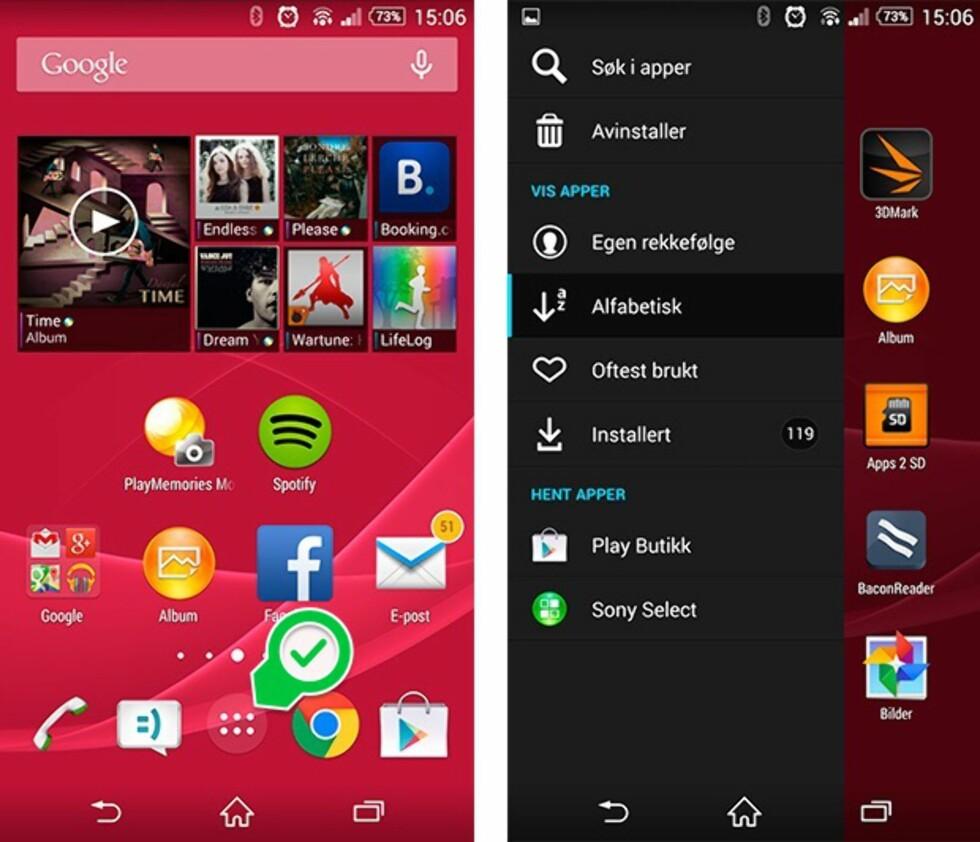 HJEMSKJERM OG APP-SKUFF: Hjemskjermen til venstre har snarveier til apper. Alle appene får du opp ved å trykke på appskuff-ikonet (merket).