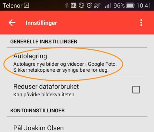 AUTOMATISK SIKKERHETSKOPI: Via Google+-appen kan telefonen ta automatiske sikkerhetskopier av bildene du har tatt.