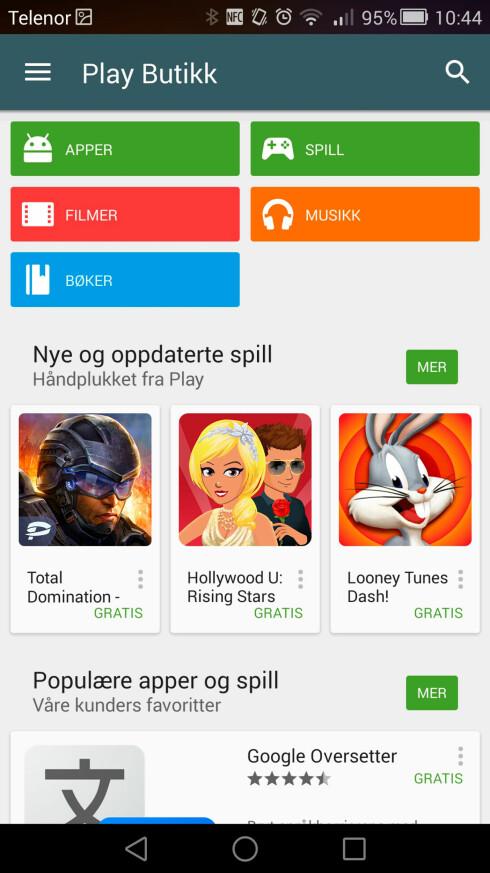 ET HAV AV APPER: Via Play Butikk kan du velge og vrake i spill og apper.