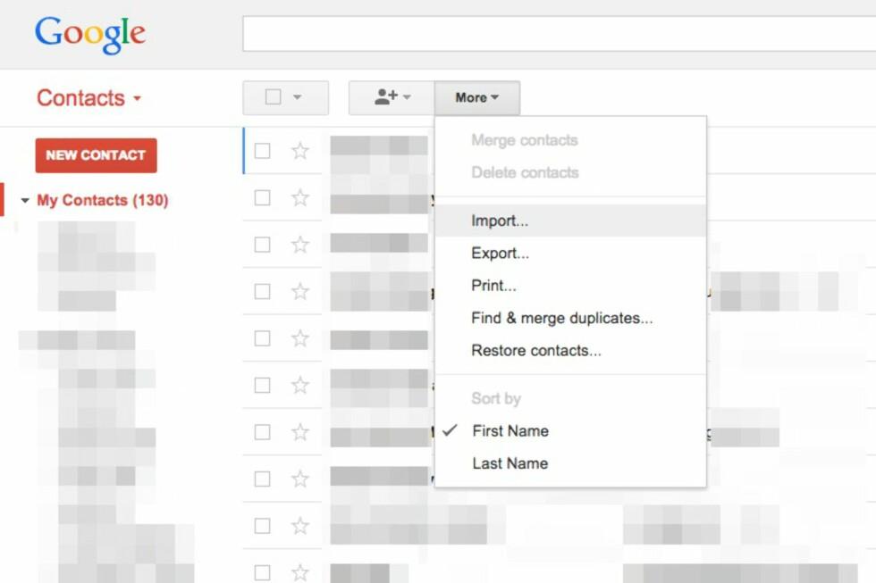 IMPORTÉR GAMLE KONTAKTER: Dette gjør du lettest via Gmail på en PC.