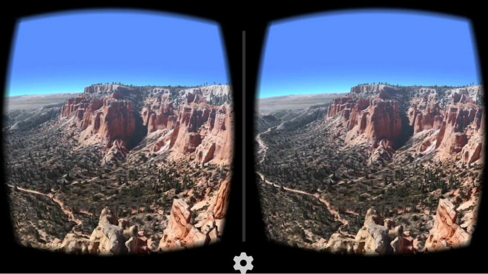 JORDEN: Google Earth kan brukes med Cardboard slik at du kan fly over landskap i 3D. Foto: GOOGLE