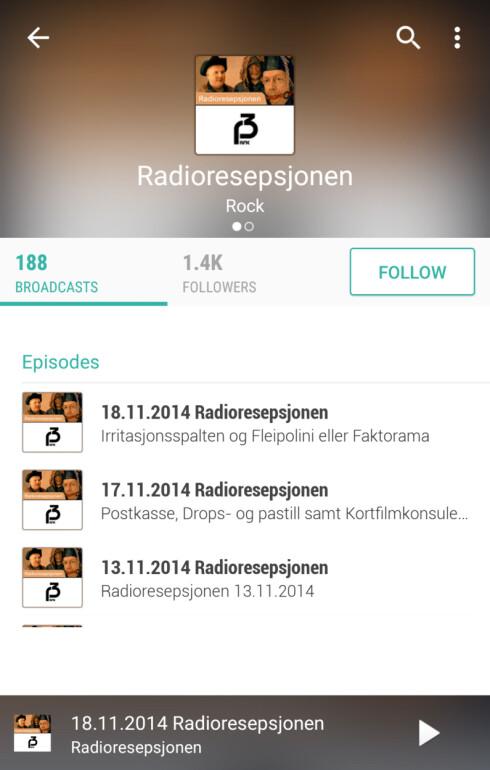 TUNEIN RADIO: Radioappen har podkast-funksjonalitet innebygd.  Foto: KIRSTI ØSTVANG