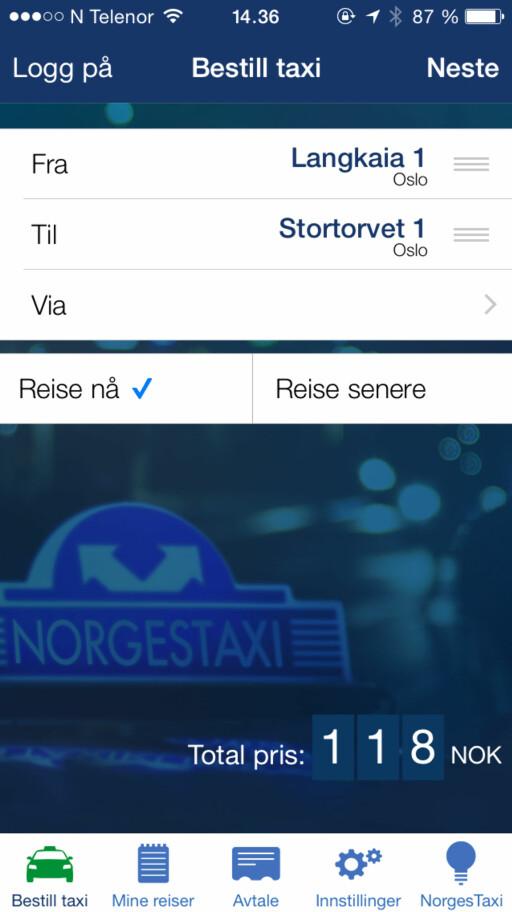 KONKURRENT: Du kan også app-bestille med NorgesTaxi flere steder i landet. Foto: TORE NESET