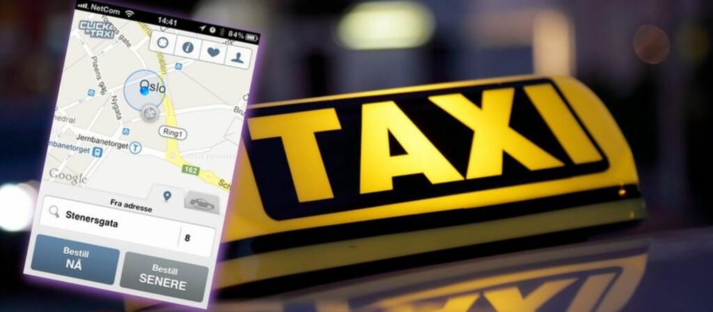 SPED BEGYNNELSE: Denne appen ble lansert i 2012, uavhengig av taxinæringen. Men nå har taxiselskapene kommet etter. Foto: ALL OVER PRESS (MONTASJE: PÅL JOAKIM OLSEN)