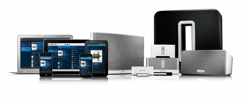 FULLT HUS: Markedslederen Sonos har apper både for Mac, PC, mobil og brett. I tillegg har de høyttalere i alle størrelser, samt mulighet til å bruke utstyret du har fra før. Foto: SONOS