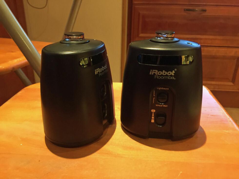 Rom-adskillere, eller som Roomba kaller dem: Virtual Lighthouses. Hindrer ganske enkelt Roombaen å gå inn på ulike rom eller krysse visse soner. (Batterier følger med.) Foto: ØYVIND PAULSEN