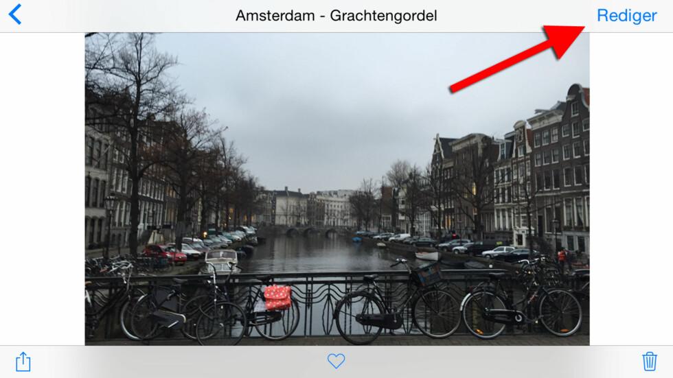 #1: Finn frem til bildet du ønsker å redigere i kamerarullen din. Foto: KIRSTI ØSTVANG