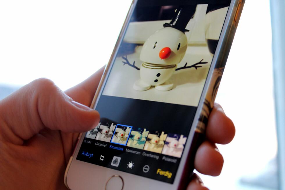 GJØR MOBILBILDENE FINERE: iPhonen din kommer med et innebygd fotoredigeringsverktøy. Foto: KIRSTI ØSTVANG