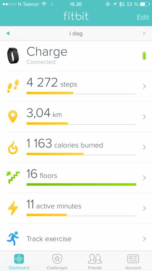 ENKEL OG PEN APP: Fitbit-appen gir deg raskt innsikt i din aktivitet i løpet av dagen. Foto: KIRSTI ØSTVANG