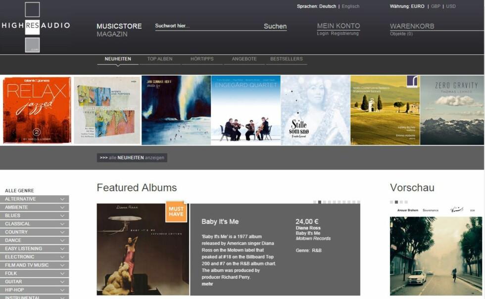 Tyske Highresaudio er en av etter hvert ganske mange musikkbutikker som selger lydfiler i høyoppløst format. Foto: HIGHRESAUDIO