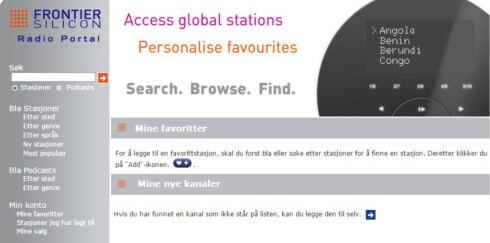 <strong><b>PORTAL:</strong></b> Du kan sette opp radiostasjonene dine på denne nettsiden. Foto: TORE NESET