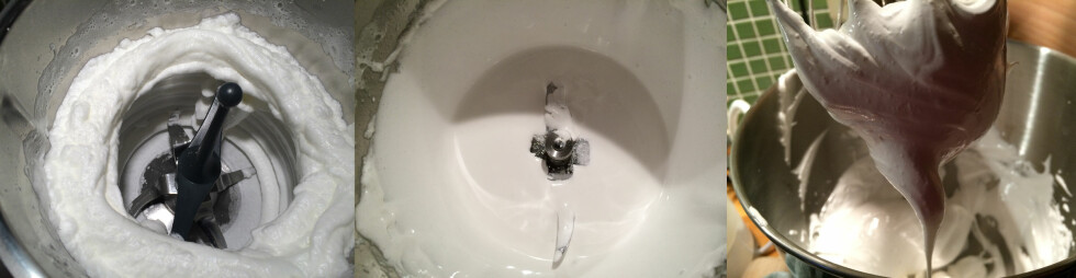 MARENGS: Det startet bra (1), men så falt det sammen (2). Uansett hvor mye vi pisket fikk vi ikke opp hviten i Thermomixen, men KitchenAiden vår fikk til slutt pisket den opp (3). Foto: ELISABETH DALSEG