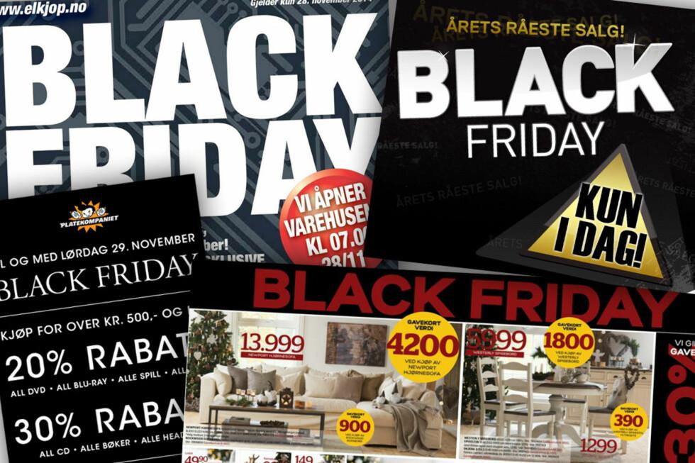 STORE TYPER: Black friday har for alvor fått fotfeste i Norge, og de store butikkene tar fram sine største bokstaver for å lokke deg med tilbud.  Foto: OLE PETTER BAUGERØD STOKKE