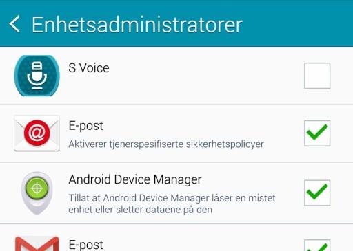 MÅ VÆRE KRYSSET AV: For å bruke Android Device Manager (Android enhetsbehandling) må dette krysset være huket av under innstillinger, sikkerhet, enhetsadministratorer. Foto: PÅL JOAKIM OLSEN
