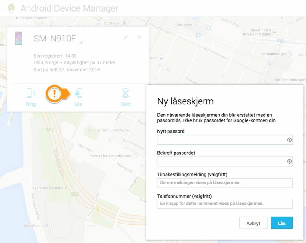 ENDRE KODELÅS: Via Android enhetsbehandling kan du endre kodelåsen på telefonen din fra en PC-nettleser. Foto: PÅL JOAKIM OLSEN
