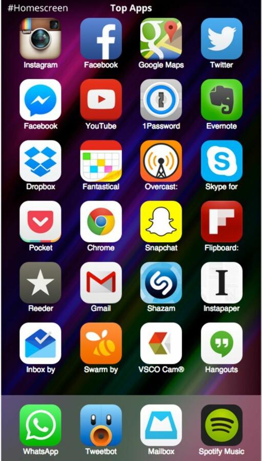 MEST POPULÆRE: Dette er de mest populære tredjepartsappene å ha på iOS-hjemskjermen, i følge de som bruker appen Homescreen til å dele hjemskjermen sin med andre.