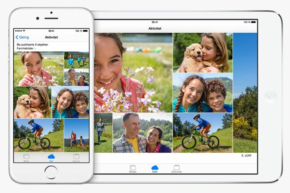FAMILIEALBUM: Med familedeling får familien et eget fotoalbum alle kan bidra med bilder til.