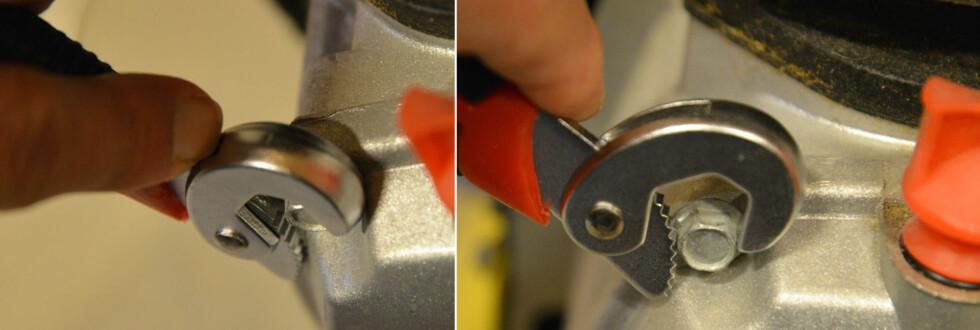 PROBLEM: Er det trangt rundt hodet på bolten, kommer du rett og slett ikke til med universalnøkkelen. Foto: BRYNJULF BLIX