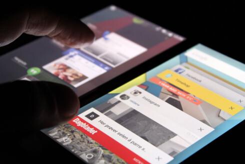 GAMMELT OG NYTT: Multitasking på Android 4.4 til venstre, på Android 5.0 til høyre. Foto: OLE PETTER BAUGERØD STOKKE