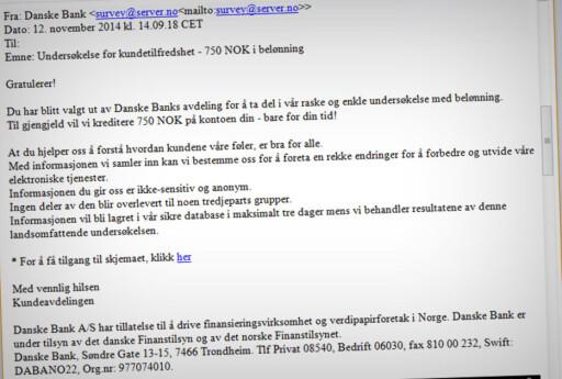 GODT SPRÅK: Den ferske phishing-e-posten bærer ikke preg av å være automatisk oversatt, slik mange andre gjør. Men språket er ikke perfekt.  Foto: OLE PETTER BAUGERØD STOKKE