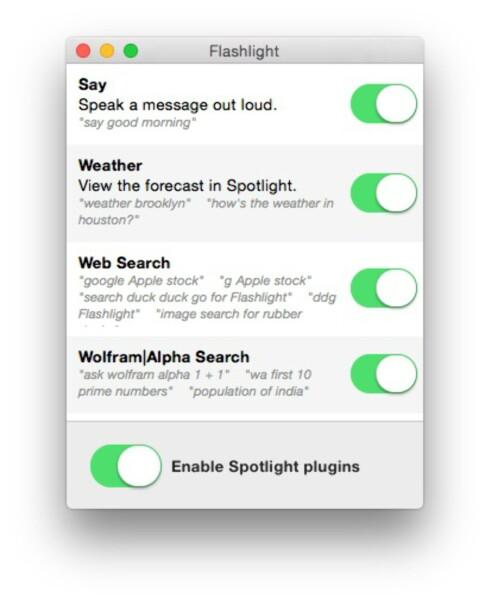 VELG SELV: Når du kjører Flashlight første gang, kan du velge hvilke utvidelser du vil aktivere.