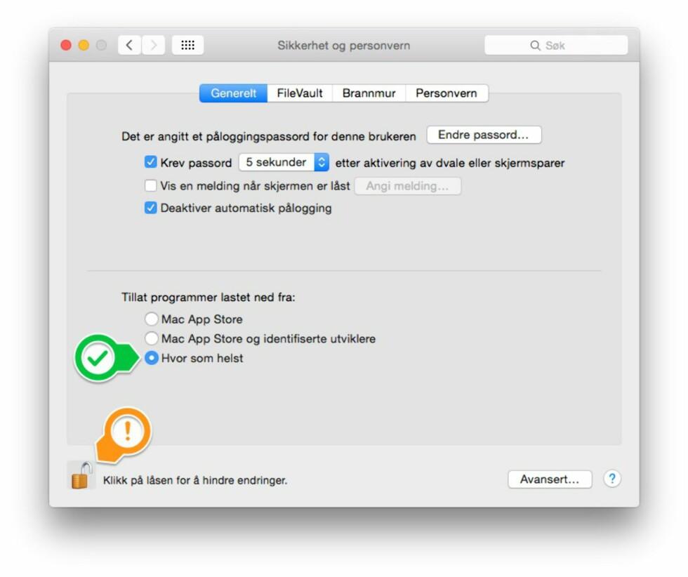 SIKKERHET: For å installere programmer utenfor Mac App Store, er du nødt til å lempe på sikkerhetsinnstilligene via systemvalg-valgpanelet.