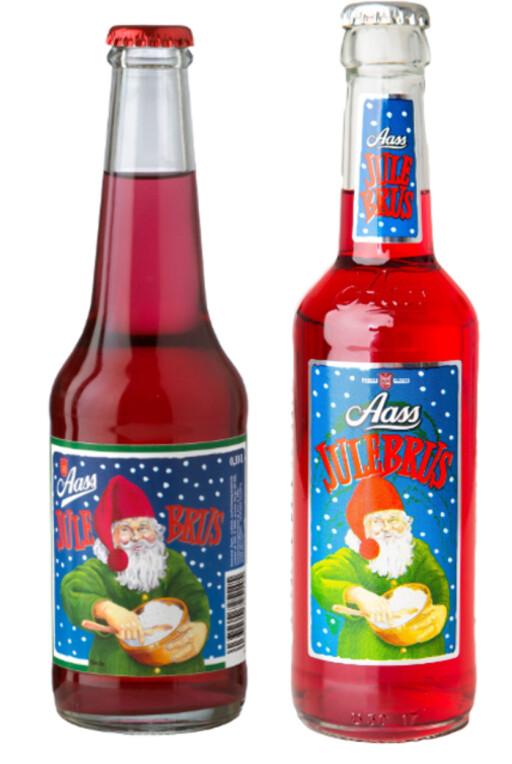 FØR OG ETTER: Julebrusen i gammel versjon til venstre, og ny versjon til høyre. Foto: AASS BRYGGERI