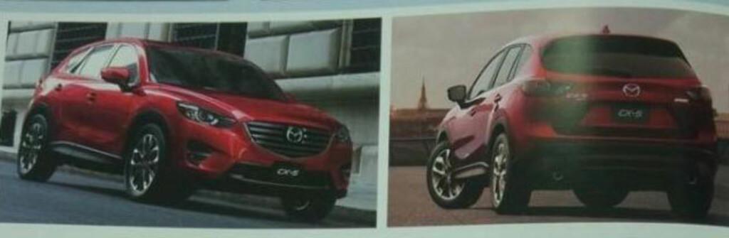 <b>LEKKASJE:</b> Noen har scannet brosjyrebilder av den fornyede Mazda CX-5 og lekket dem ut på internett. Ny front med LED-hovedlys og nye felger står på programmet.  Foto: MAZDA VIA PAUL TAN