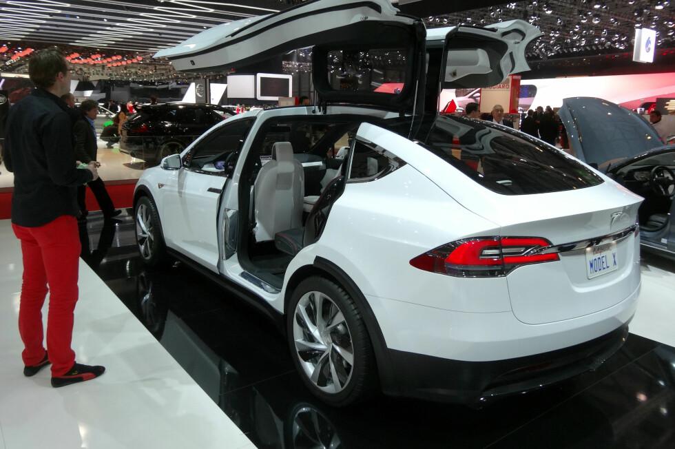 FLAKSER MED VINGENE:  De såkalte måkevingedørene er omstridt, men Tesla-sjef Elon Musk hevder de skal være mulig å åpne i en garasje. Problemet er høyden - og mulighet for skiboks... Foto: FRED MAGNE SKILLEBÆK