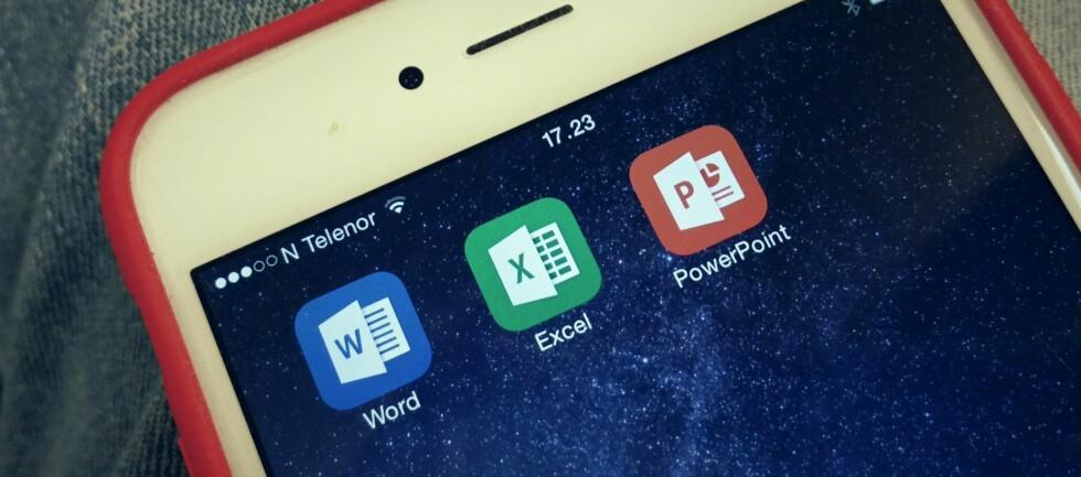 GRATIS: Nå trenger du ikke lenger å være Office365-abonnent for å bruke Office-programmene på iOS og Android. Foto: PÅL JOAKIM OLSEN