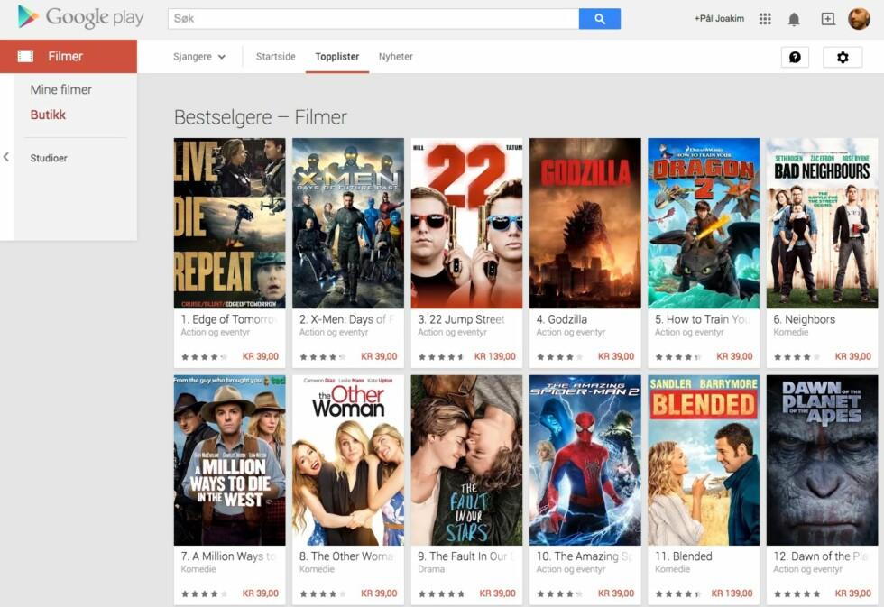 LEI FILM: Du kan leie filmer fra Google og sende over til Chromecast for avspilling.