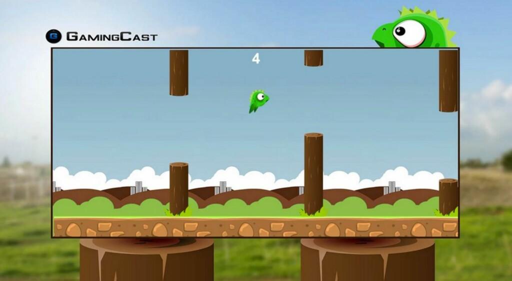 SPILL: Det finnes flere spill du kan spille på den store skjermen. Dette er ett av Gamingcast-spillene.
