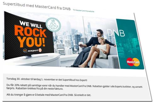 DNB-TILBUD: DNB kunder får 20 prosent rabatt hos Expert, men ikke av kampanjeprisene i kundeavisen. Foto: ILLUSTRASJON
