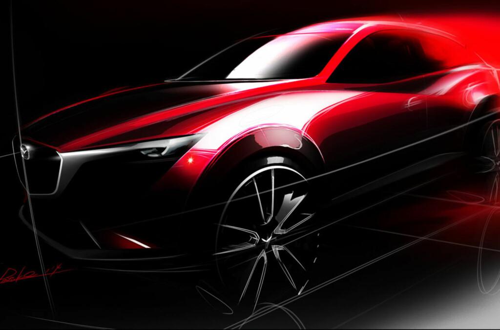 <b>TEASER:</b> Dette er allt vi får se av Mazda CX-3 foreløpig, men snart skal den avdukes på bilutstillingen i Los Angeles. Dette er uansett en spennende nyhet for det noorske markedet. Foto: MAZDA