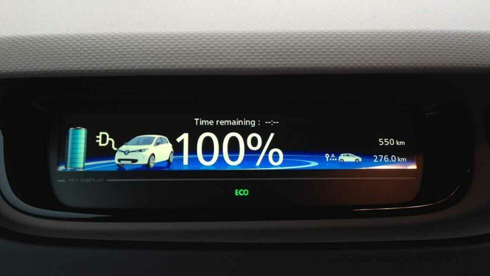 = 240 KM: Fra nå av betyr dette tallet i displayet 30 kilometer lengre rekkevidde enn før. Foto: KNUT MOBERG
