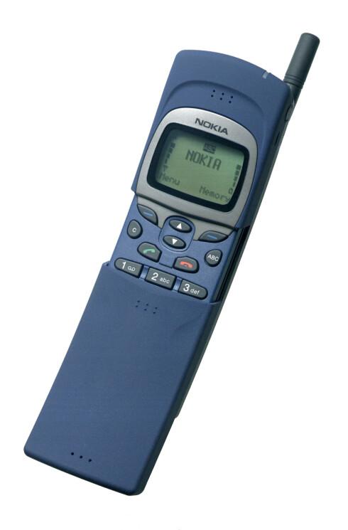NOKIA 8110: Ble lansert i 1996, men er mest berømt for å ha vært med i Matrix-filmen fra 1999, riktignok i modifisert utgave.  Foto: NOKIA