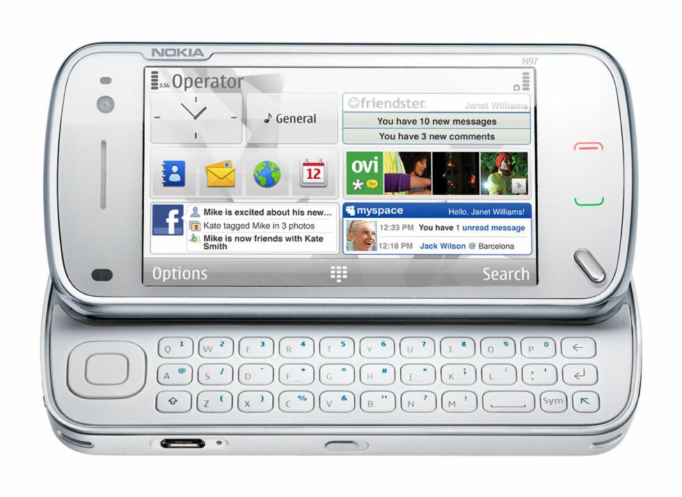 NOKIA N97: Kjørte Nokias Symbian-operativsystem, som aldri ble noen stor suksess.  Foto: NOKIA