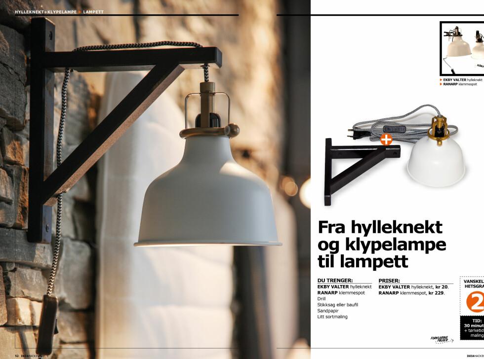 SLIK KAN DU LAGE EN LAMPE: Det er ikke grenser for hvor mange kule lamper du selv kan lage, her er et eksepmel med en hylleknekt og en spotlampe. Foto: ERIK HANNEMANN/SIV ENDRESEN