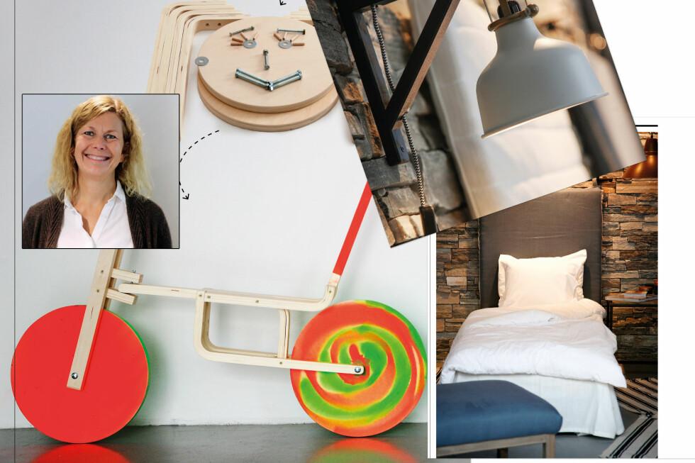 NYE MULIGHETER I GAMLE IKEA-MØBLER: En krakk kan brukes til mye annet enn å sitte på, og en hylleknekt kan holde mye mer enn en hylle. Interiørdesigner Siv Endresen har drevet med ombygging av gamle Ikea-møbler lenge. Nå vil hun inspirere andre. Foto: ERIK HANNEMANN/SIV ENDRESEN