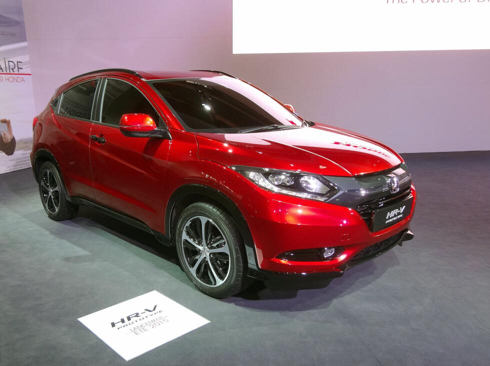 MER AKTUALL HONDA: Den kompakte SUV-en Honda HR-V kommer på markedet til neste år. Her er den utstilt på bilmessen i Paris nylig. Foto: KNUT MOBERG