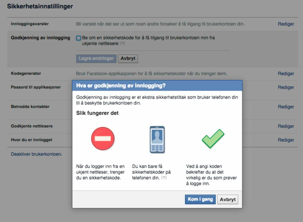 MOBIL KREVES: Aktiverer du denne funksjonen på Facebook, får man ikke logget på fra en ny maskin uten en engangskode du får tilsendt på SMS.