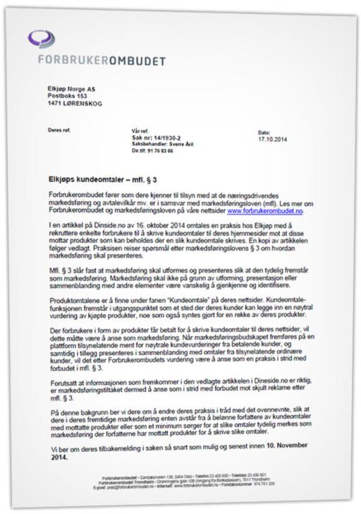 KREVER STANS: Forbrukerombudet har sendt dette brevet til Elkjøp, hvor de ber kjeden stanse omtalene eller merke dem tydelig.  Foto: OLE PETTER BAUGERØD STOKKE