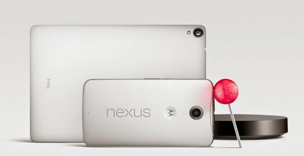 I SALG I NOVEMBER: Nye Nexus 9 er produsert av HTC, mens Nexus 6 er produsert av Motorola. Begge skal komme i salg i november.  Foto: GOOGLE/HTC