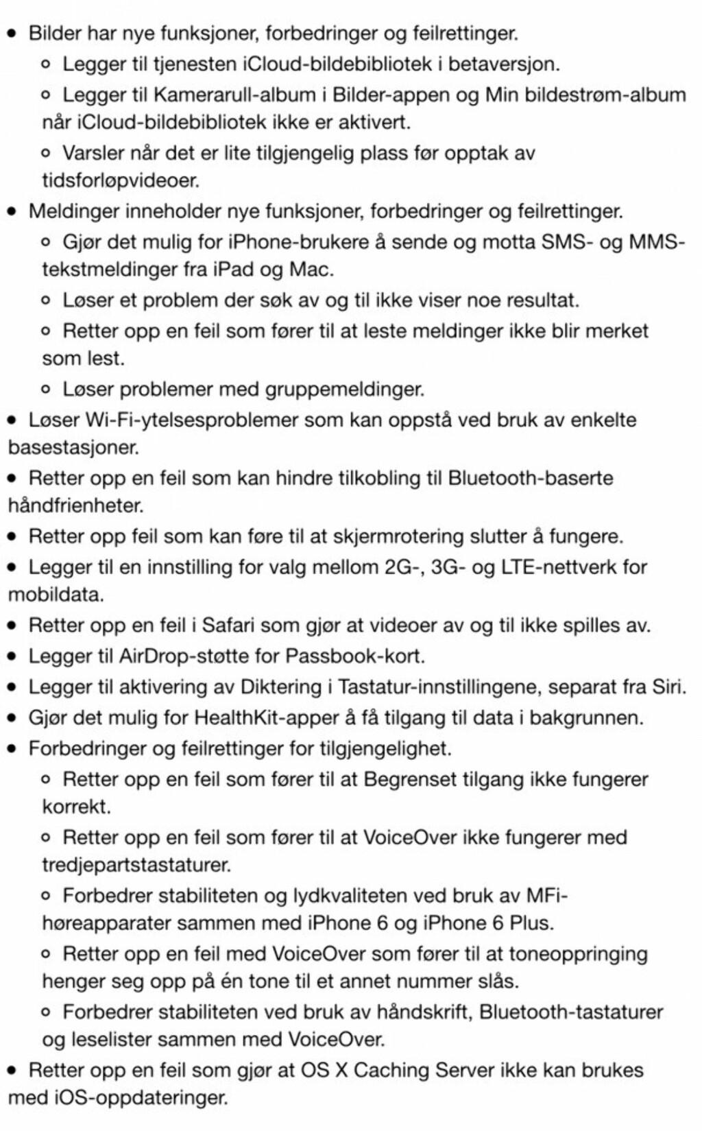 Her er alt som har blitt fikset i iOS 8.1 Foto: Trond Bie