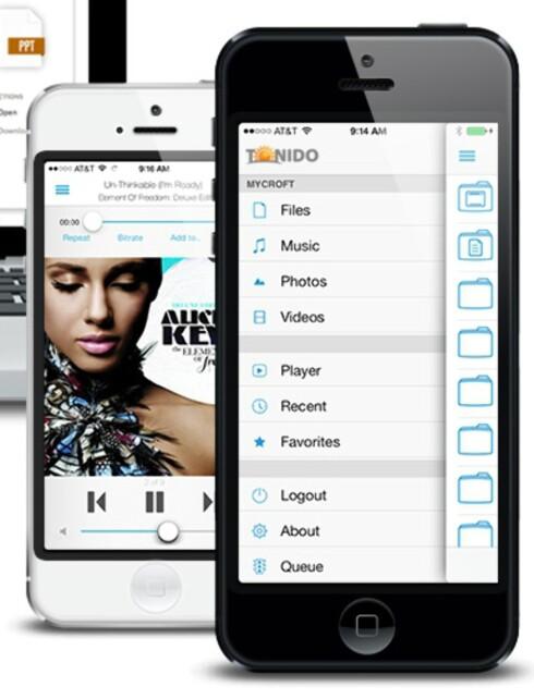 ENKEL TILGANG TIL EGEN MUSIKK: Slik ser filbehandleren og musikk-spilleren ut på iPhone. Foto: TONIDO