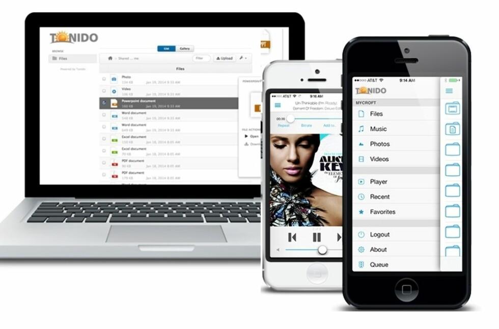 DETTE ER TONIDO: Med gratis-tjenesten Tonido er det din egen hjemmemaskin som er sky-tjenesten. Det betyr at du kan dele så mye du vil. Strømming av musikk og film er innebygget, og enkelt i bruk. Foto: TONIDO