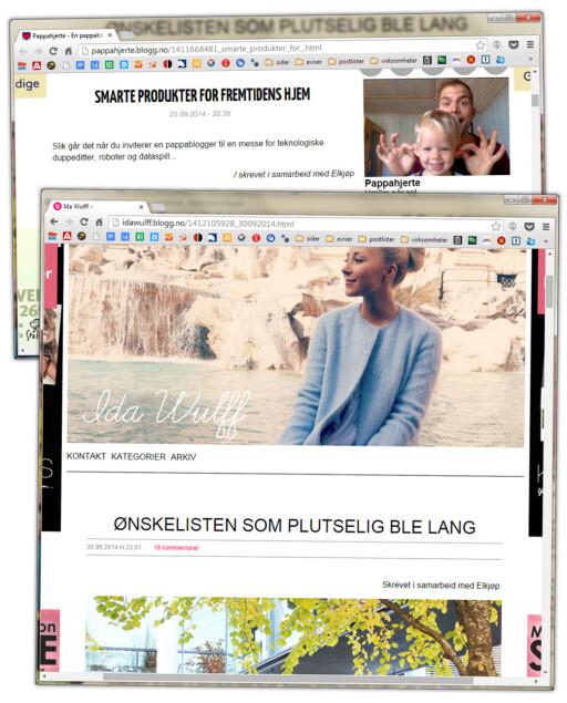 KJØPER BLOGGINNLEGG: Elkjøp markedsfører seg også i sosiale medier ved å få bloggere til å skrive om dem. Her er to stykker som har vært på deres Elbit-messe, merket «Skrevet i samarbeid med Elkjøp». Foto: OLE PETTER BAUGERØD STOKKE
