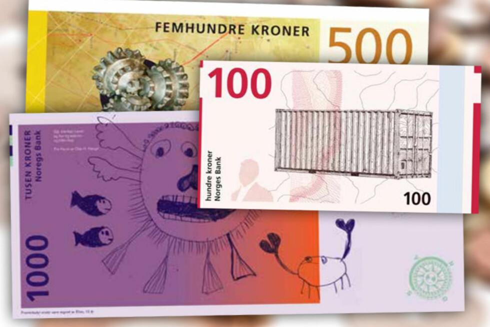 TAPERNE: Forslagene om å designe Norges nye sedler kom fra åtte kanter. Og noen av forslagene var mer... kreative enn andre.  Foto: NORGES BANK / OLE PETTER BAUGERØD STOKKE